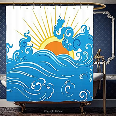 152,4 x 182,9 cm Dusche Vorhang abstrakt Kurven Ocean Waves mit Sun Rising mit Vibrant Sharp Strahlen Seascape Art blau gelb orange 00273 Polyester Badezimmer Zubehör Home Dekoration, Polyester, Multy, 60W x 72H Inch