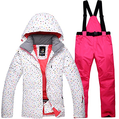 Zantec Tuta da Sci Tuta da Sci all'aperto Donna Antivento Impermeabile Caldo Termico Snow Snowboard Jacket + Pants Imposta Abbigliamento da Sci Pattinaggio Jacket + Rose Red Pants M