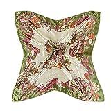 Bluelans® Damenschal Faux Seidenschal Seidentuch Blume Bandana Halstuch Kopftuch Schal 90 x 90 cm Bunte (Grün)