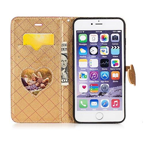 Coque Cuir iphone 7 Plus, Meet de Design à carreaux de mode rétro amour pur Étui Housse en Cuir Ultra-mince Avec La Fonction Stand pour iphone 7 Plus Housse - rose brun