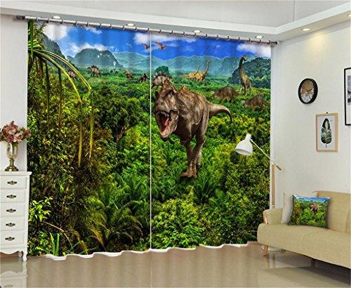 XFKL Vorhänge 2 Panels Blackout Vorhänge, Dinosaurier schwarze Seide mehr als 90% Schattierung für Wohnzimmer Schlafzimmer Fenster Vorhänge , 142*98 inch - 90 Behandlungen