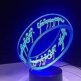 Il Signore Degli Anelli Lampada Da Notte A Led - 7 Colori Lampada Da Tavolo A Dimmerabile Con Telecomando Per Bambini, Luci 3