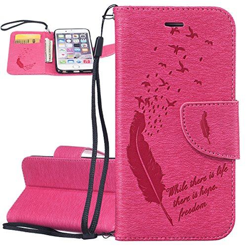Custodia iPhone 6, ISAKEN Custodia iPhone 6S, iPhone 6 Flip Cover, Elegante borsa Dente di leone Design Custodia in Pelle Protettiva Portafoglio Case Cover per Apple iPhone 6 4.7/ con Strap / Support Piuma: roseo