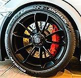4 x Tire Style Reifenaufkleber - Michelin- Farbe: weiß Reifenschrift Reifen Aufkleber (18 Zoll)