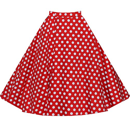 Rolansica Damen Retro Faltenrock Hohe Taille Rock Knielang Stoffdruck A-Linie Punktmuster Red Polka Dots S (Polka Rock Falten Dots)