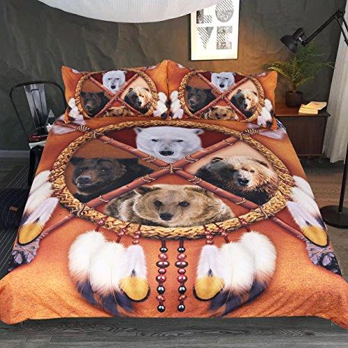 Sleepwish 4Bears Dreamcatcher Betten Set 3Stück Native American Indian Tagesdecke Vintage Gold Tribal Print Bettbezug Queen Goldfarben Native American Indian Cover