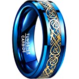 VAKKI Anillo de boda de carburo de tungsteno chapado en oro de 8 mm con incrustaciones de fibra de carbono azul para hombre,