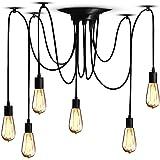 Lampop Suspension Luminaire Induistrielle Lampe Araignée 6 Bras Réglable Lampe Lustre Rétro Vintage Multi-Lumière Eclairage d