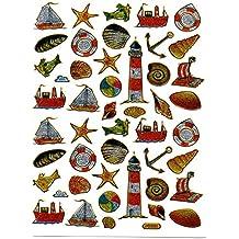 Faro Balsa ancla barco Multicolor 45piezas 1hojas 135mm X 100Mm Pegatinas Manualidades Niños Fiesta metalizado.