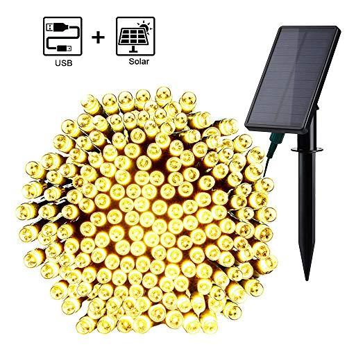 Qedertek Solar Lichterkette Außen mit USB Aufladung 220 LED 23.5M Weihnachten Lichterkette Wasserdicht IP65 Stimmungslichter 8 Modi Außen Dekoration für Weihnachten, Garten, Hochzeit - Warmweiß
