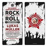 30 x Geburtskarten Babykarten witzig Jungen Mädchen individuell - Rock and Roll Rockstar