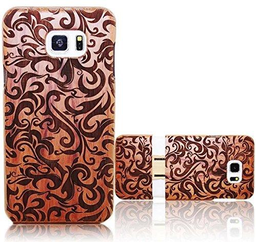 Custodia Cover per Samsung Galaxy S7 Edge (2016 version), Vandot Modello Dura Posteriore Duro Golden Bling Wooden Hard Legno Retro Rigido Caso Premium Ibrida Floreale Case