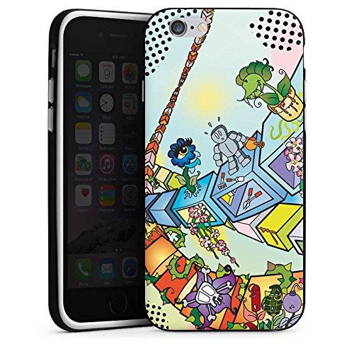 Apple iPhone 4 Housse Étui Silicone Coque Protection Bande dessinée Robot Dé Housse en silicone noir / blanc