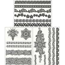 ChicTats Tatuajes temporales de encaje negros - Pack de 3 hojas