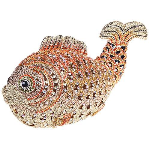 Santimon Clutch Delle Donne Lusso Bling Strass Pesce Borse Da Festa di Nozze Sera Con Tracolla Amovibile e Pacco Regalo 10 Colori arancione