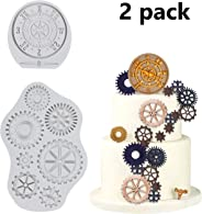 Vodolo (Set of 2) Steampunk Cogs Mold, Big Wheel Gears & Antique Compass Silicone Fondant Mold Chocolate Mold for Cupcake To