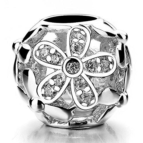 Charms Schmuck Und Perlen (Beauty Charm Silber Big Blume Perlen DIY Kristall Schmuckset Charm Blume Perlen für die Schmuckset)