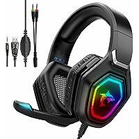 Cuffie da gioco con microfono, Cuffie Wlevzzor PS5 con microfono a cancellazione di rumore luce LED RGB cuffie da gioco…