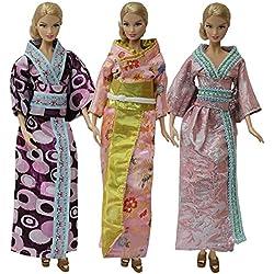 ZITA ELEMENT 3 Pack vestido de estilo japonés para la muñeca Barbie