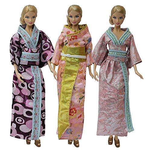 ZITA ELEMENT 3er Japanischen Kimono Puppenkleidung Kostüm für Barbie Puppe Kleidung für Traditionelle Feste Cosplay Kleider Bekleidung Prinzessin Chinesisch Kleid