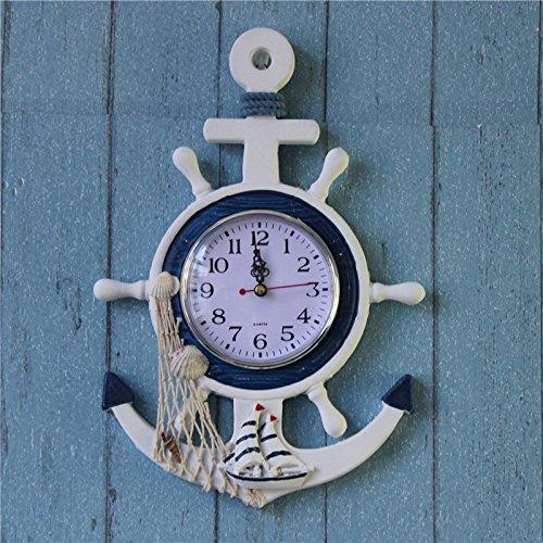 Generic Hängende Wanduhr , Maritim Lenkrad Design , Uhr Seesterne Dekor Anker Schiff Weiß - Fischen, 23 x 2 x 33 cm