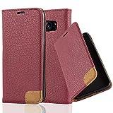 Cadorabo Hülle für Samsung Galaxy S7 Edge - Hülle in Herbst ROT – Handyhülle mit Standfunktion, Kartenfach & Textil-Patch - Case Cover Schutzhülle Etui Tasche Book Klapp Style