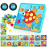 TINOTEEN Baby Color Button Art Toys for Toddler, DIY Educational Learning Toy 46 PCS Pegs and 18 Templates