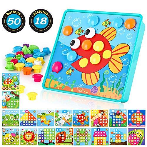 TINOTEEN Mosaik Steckspiel für Kinder Lernspielzeug Steckmosaik mit 46 Steckperlen und 18 Bunten Steckplätte