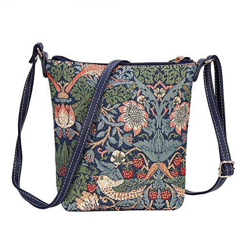Modische Tapisserie Damen Schlingetasche oder Messengertasche Erdbeerdieb Blau