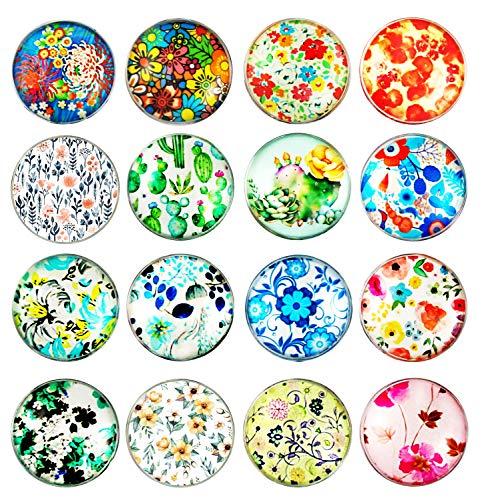 Cosylove 16pcs Big Flower Kühlschrankmagnete, Kristallglas-Kühlschrankmagnete für Büroschränke, Whiteboards, Fotos, dekorative Magnete für Weihnachten und Neujahr