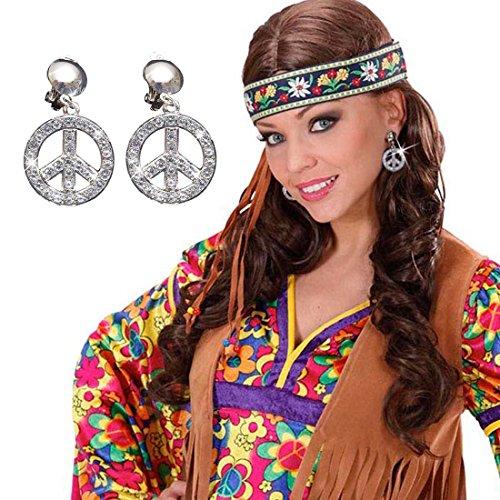 NET TOYS 70er Jahre Peace Ohrringe Hippie Ohrclips Hippieschmuck Kostüm Zubehör Ohr Ringe Karnevalsaccessoire Faschingsaccessoire