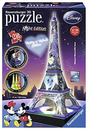Ravensburger italy- disney classics tour eiffel puzzle, 3d building, night edition, 12520