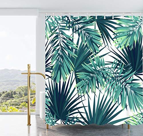 Ao blare Colorful Palm Tree Duschvorhang, Farbe Malerei Baum Tropische Landschaft Duschvorhang Set Badezimmer Wasserdicht Polyester Stoff mit Haken 182,9x 182,9cm 72X72Inch grün