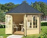Gartenhaus EMMA II - 4F Pavillon 336x336cm - 40mm - Inkl. Fußboden+Verglasung