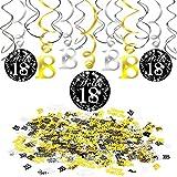 Howaf 18. Geburtstag deko mädchen Jungen, 18. Geburtstags PVC Swirl Hängedekoration spiralen Girlanden Schwarz und Gold (15 Teilig), Happy Birthday & Zahl 18 Konfetti (1,05 Unzen), 18 Jahre
