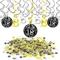 Idea Regalo - Howaf 18° Compleanno Appendere Decorazioni Pendenti Spirale turbinanti (12 Pezzi) Numero 18 Compleanno Coriandoli di Tavolo(1.05 oz) per Donna Ragazzo 18 Anni Decorazioni Compleanno addobbi