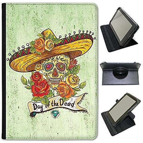 El Dia de los muertos Mexique Jour des morts en simili cuir Snuggle Étui Coque Sac avec support de visionnage pour Hipstreet tablettes Hipstreet Pilot 10 inch Gems & Painted Skull Flowers