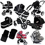 i-Safe System - Black Grey Travel System Pram & Luxury Stroller 3 in