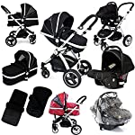 i-Safe System - Black Trio Travel System Pram & Luxury Stroller 3 in 1 Complete with Car Seat + Footmuff + Carseat Footmuff + RainCovers ...