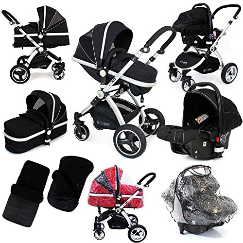 i-Safe System – Black Grey Travel System Pram & Luxury Stroller 3 in 1 Complete With Footmuff, Head support, Carseat Footmuff, All the Raincovers iSafe 611p96CSRnL