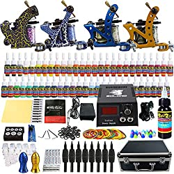 Solong Tattoo® Kit de Tatouage Complète 4 Machine à Tatouer Professionnelle 54 Encres Power Supply Aiguille de Tatouage Tattoo Kit Set TK453