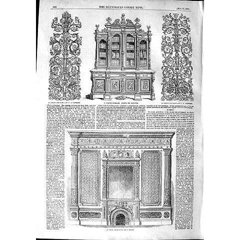 MUEBLES TALLADOS DECORACIÓN DEL DISEÑO DEL ESTANTE PARA LIBROS DE 1851 PAREDES