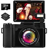 LINNSE Digitalkamera 30MP 2.7K Full HD Kompaktkamera mit Flip Screen Fotoapparat…