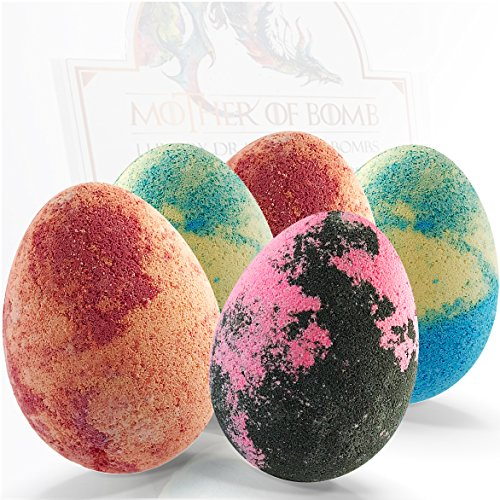 Bath Bombs Gift Set - 5 Dragon Egg Bath Fizzies - 255g Jumbo Bathbombs - Winter is here