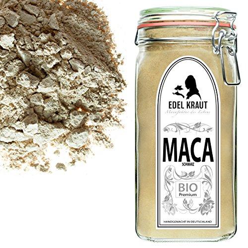 EDEL KRAUT | BIO SCHWARZES MACA PULVER Premium Superfood 100% MACAWURZEL SCHWARZ IM GLAS 750g -