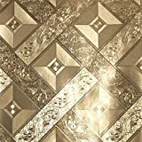 Hanmero Modern Fernseher Hintergrund Luxus Blattgold Mosaik 3D-Tapete Karo 0,53*10m 2 Farben für Hotel Wohnzimmer (Gold)
