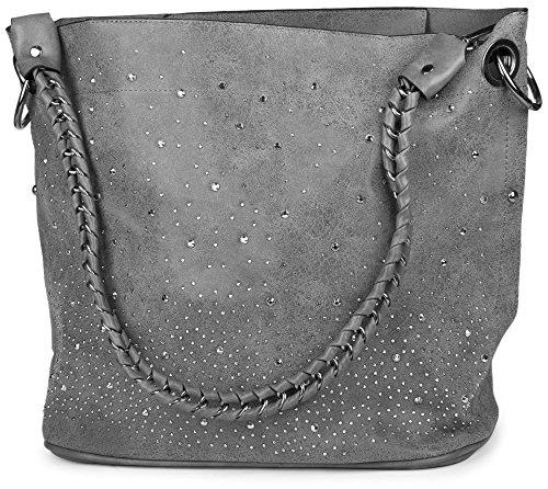 styleBREAKER Handtaschen Set mit Strassapplikation im Sternenhimmel Design, 2 Taschen 02012013, (Designer Handtaschen)