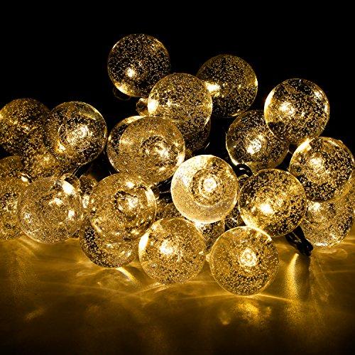 Cadena de Luces Solar Luminosa Exterior 30 LED de Bolas de Cristal para Fiesta Navidad Hogar o Exterior Jardín Árbol Camino de Multicolor Decoración Iluminación Luces (Blanco