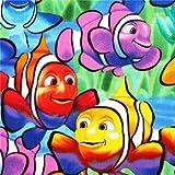 Bunter exotische Clown Fisch Tier Stoff USA