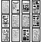 Vancool 24 piezas Bullet Journal Stencil Set plantilla de dibujo planificador plástico para diario / cuaderno / diario / libro de recuerdos, 4 x 7 pulgadas